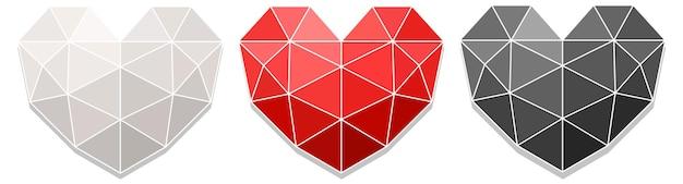 Набор разного цвета геометрического сердца