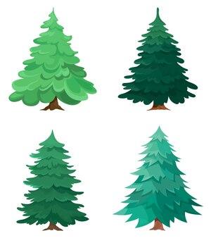 Набор различных хвойных деревьев. коллекция елей в мультяшном стиле.