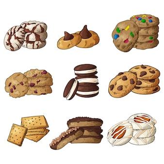 Набор различных печенья на белом фоне