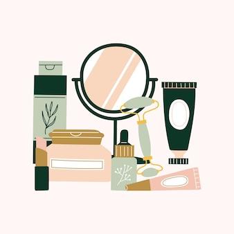 다양한 화장품, 튜브, 병, 항아리, 거울, 모이스처라이저, 얼굴 롤러, 핸드 크림, 혈청, 립밤, 로션, 아이 크림 세트. 다채로운 스킨케어 및 에코 뷰티 제품 컬렉션