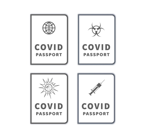 さまざまなcovid-19ワクチン接種パスポートのセット白で隔離のシンプルなアイコン Premiumベクター