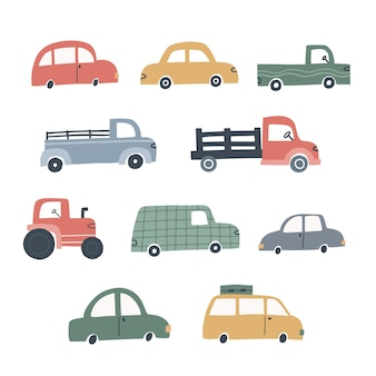 さまざまなかわいい車のセット。子供のデザインのための手描きのベクトルイラスト。
