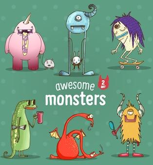 다른 귀여운 재미있는 만화 괴물의 세트