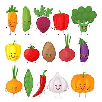Набор разных милых счастливых овощных персонажей