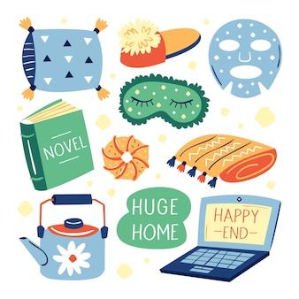 다른 귀여운 라이프 스타일 항목의 집합입니다. 내 집은 내 규칙. 아늑한 집. 노트북, 책, 베개, 안면 마스크, 슬리퍼, 격자 무늬. 고립 된 편평한 화려한 일러스트 아이콘