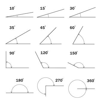 고립 된 화살표 아이콘으로 다른도 각도 기하학적 수학 각도 각도의 집합