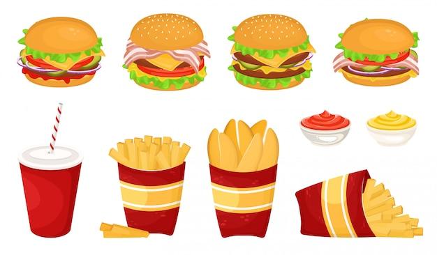カツレツ、ソースとソーダとフライドポテトとダンボールcup.illustrationのファーストフードの異なるおいしいハンバーガーのセット。ジャンクフード。