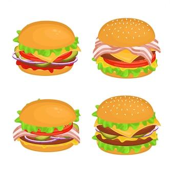 カツレツと異なるおいしいハンバーガーのセット。ファーストフードのイラスト。ジャンクフード。 Premiumベクター