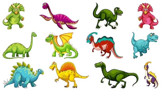 흰색 배경에 고립 된 다른 공룡 만화 캐릭터의 집합