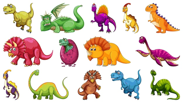 白い背景で隔離のさまざまな恐竜の漫画のキャラクターのセット 無料ベクター