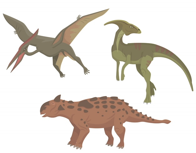 異なる恐竜のセット。漫画のスタイルでパラサウロロフス、テロダクティルス、タルラルス。