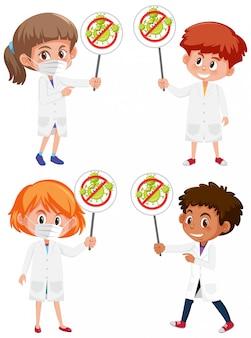 ストップコロナウイルスのサインを保持しているさまざまな医師のセット