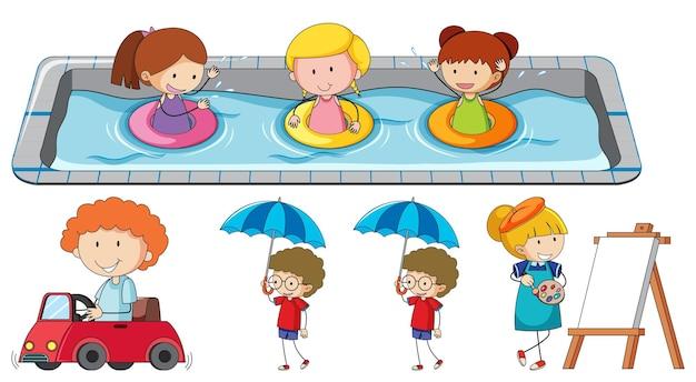 Набор различных каракули детей мультипликационный персонаж
