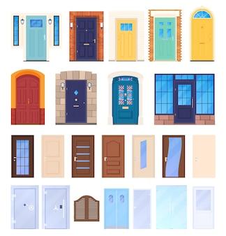 さまざまなドア、さまざまな形や色のドアのセット