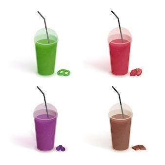 ふたとストローが付いているプラスチック製のコップのさまざまな飲み物のセット。ブルーベリー、イチゴ、キウイ、チョコレートのスムージー。フラットなスタイルで白い背景の上のカラフルなコレクションをベクトルします。
