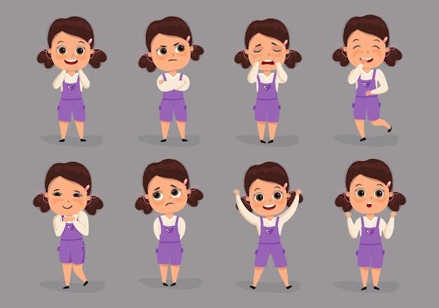 다른 감정 여성 캐릭터의 집합 귀여운 꼬마 소녀입니다.