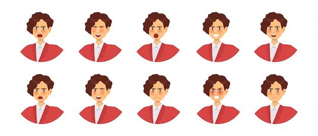 Набор различных эмоций женского персонажа. смайлики с различными выражениями лица.