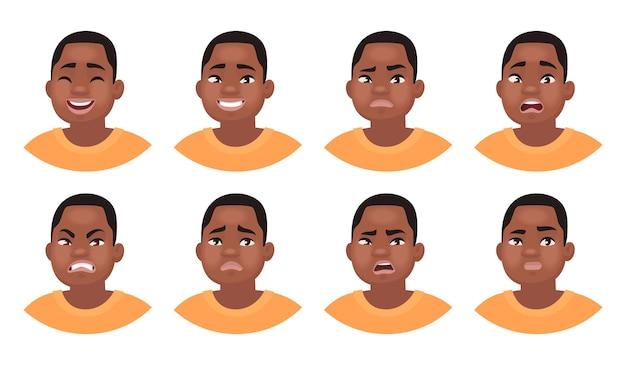 さまざまな感情の男性キャラクターのセット。さまざまな表情のアフリカ系アメリカ人男性の絵文字。漫画のスタイルで