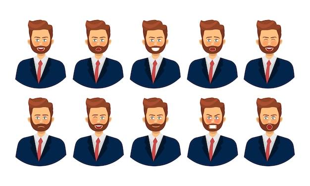 Набор различных эмоций мужского персонажа. смайлики с различными выражениями лица.