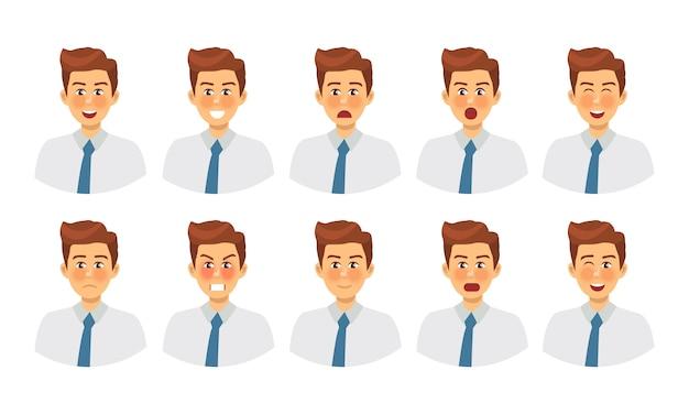 다른 감정 남성 캐릭터의 집합입니다. 다양한 표정의 이모티콘.