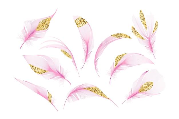 Набор различных падающих пушистых закрученных перьев на белом фоне