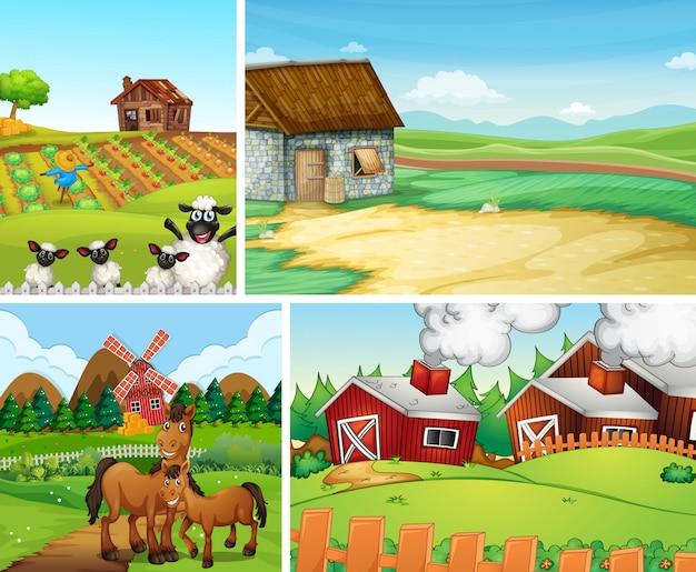 다른 농장 장면 만화 스타일의 집합