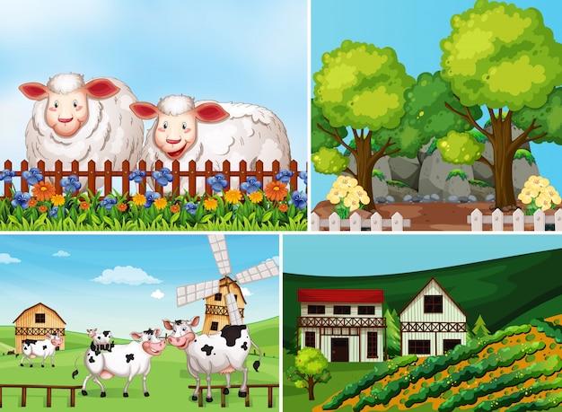 동물 농장 만화 스타일으로 다른 농장 장면 세트