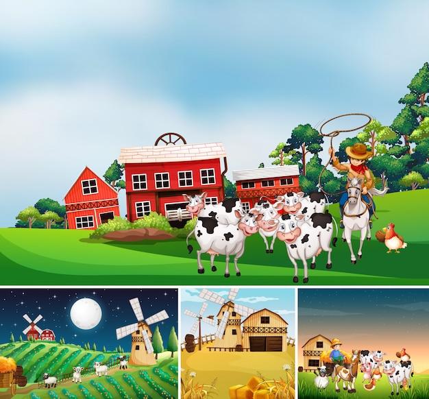 동물 농장 만화 스타일로 다른 농장 장면 세트