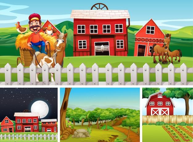 動物農場の漫画スタイルのさまざまな農場シーンのセット