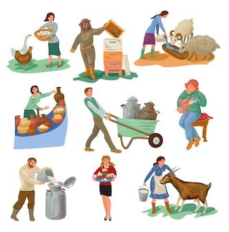 さまざまな農民のキャラクターのセットは、自然食品で家畜を養います