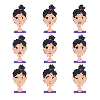다른 여성 표정 세트