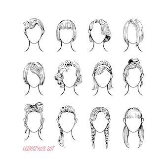 さまざまな女性のヘアスタイルのセット。手描きイラスト