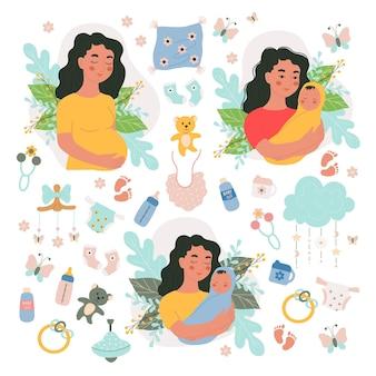 다른 여성 임신 및 신생아 및 아기 벡터 그림 손 그리기 항목 집합