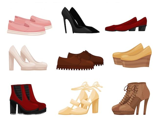 別の女性の靴、サイドビューのセット。トレンディな女性の靴。ファッションテーマ