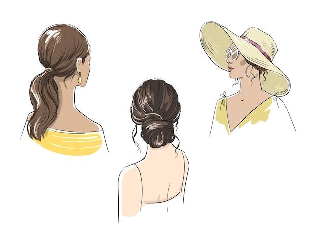 長い髪のベクトル図とさまざまな女性の夏のヘアスタイルのセット