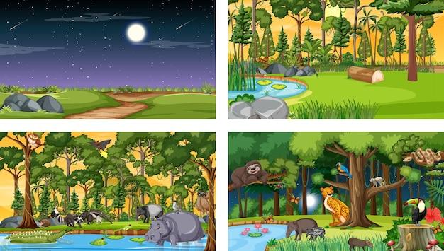 다양한 야생 동물과 함께 다른 숲 수평 장면 세트 무료 벡터