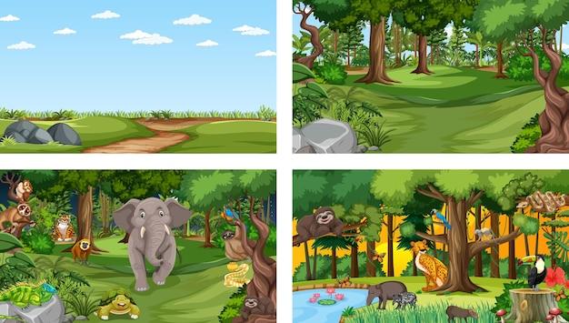 다양한 야생 동물과 함께 다른 숲 수평 장면 세트