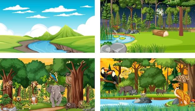Набор различных лесных горизонтальных сцен с различными дикими животными