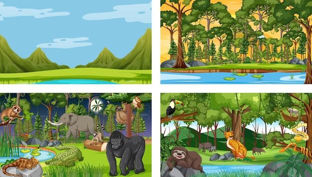 さまざまな野生動物と異なる森の水平方向のシーンのセット