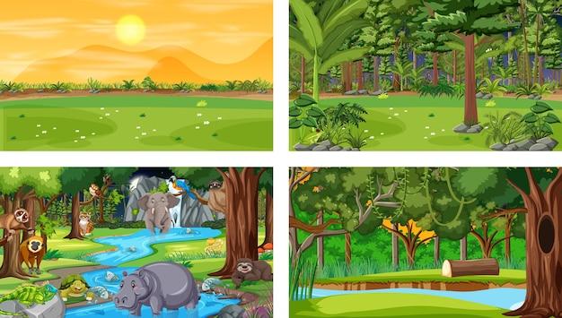 다양한 야생 동물이 있는 다른 숲 수평 장면 세트