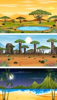 Набор различных лесных горизонтальных сцен в разное время