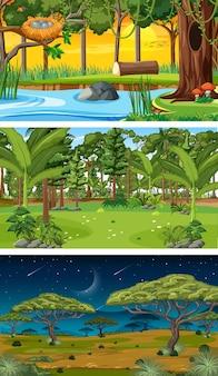 다른 시간에 다른 숲 가로 장면 세트