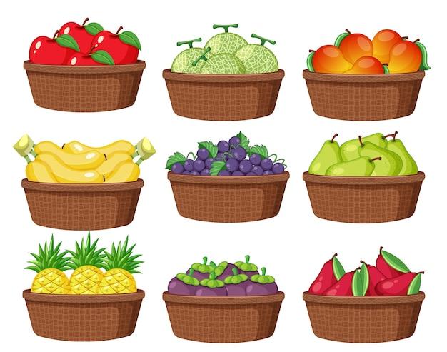 白い背景で隔離のバスケットのさまざまな果物のセット