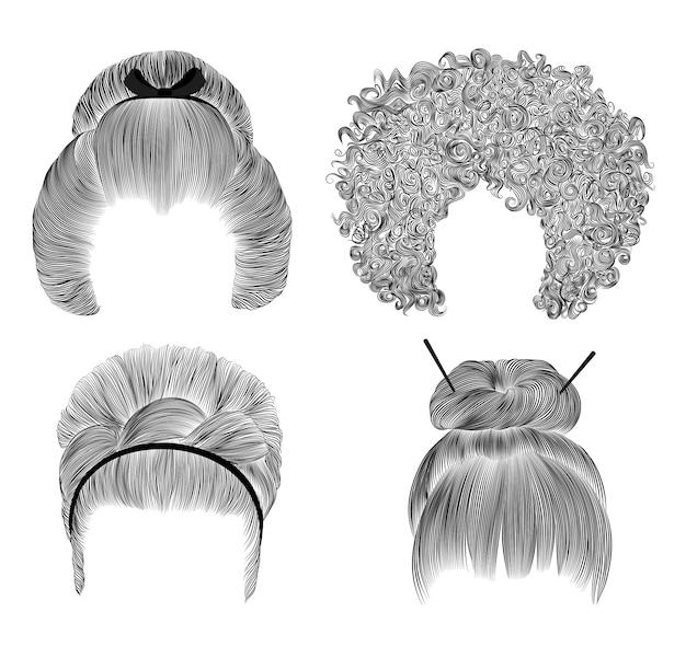 Набор различных забавных волос женщин. бахромой карандашный рисунок эскиз. японская прическа булочка с заколкой. африканская прическа. ретро прически заколка.