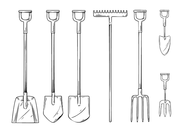 さまざまな園芸工具のセット。シャベル、熊手、熊手、スペードは白い背景で隔離。スケッチスタイルのイラスト。