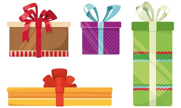 Набор различных подарочных коробок. праздничный декор в мультяшном стиле.