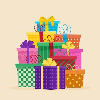 Набор различных подарочных коробок. плоские векторные иллюстрации. книжка-раскраска.