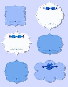 Набор различных подарочных карт с лентами, элементами дизайна. векторные иллюстрации