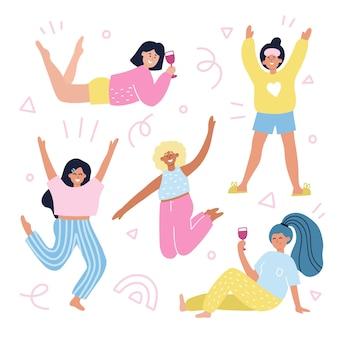 Набор разных девушек в пижамах. нарисованная рукой иллюстрация вектора шаржа с абстрактным украшением. концепция вечеринки с ночевкой для флаера, дизайна приглашения.