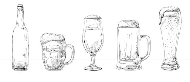 Набор разных стаканов с пивом, разные кружки пива и бутылка. стиля эскиза.